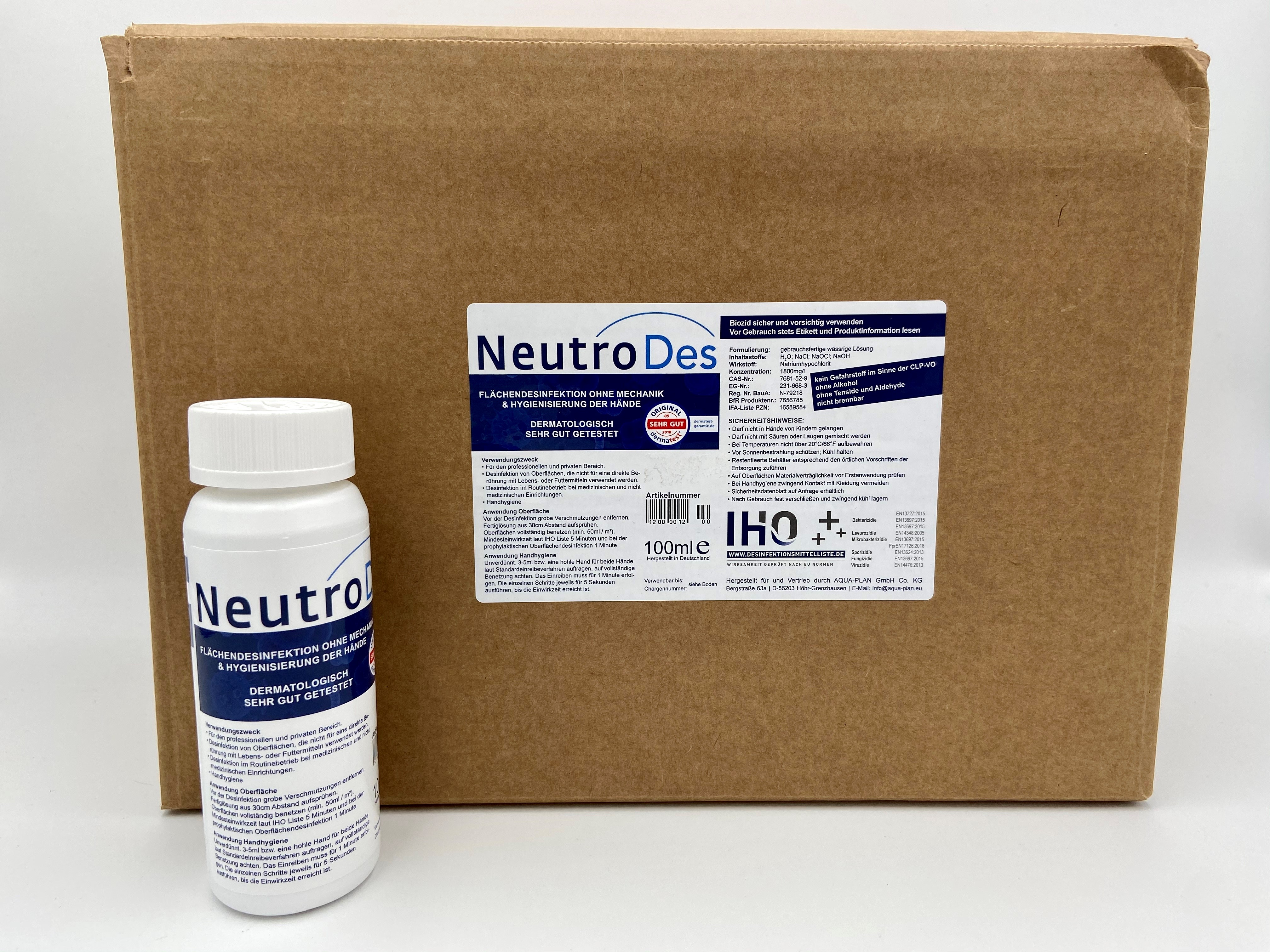 NeutroDes 100 ml, Oberflächendesinfektionsmittel mit Händehygienisierung 100ml Drück- Drehverschluss