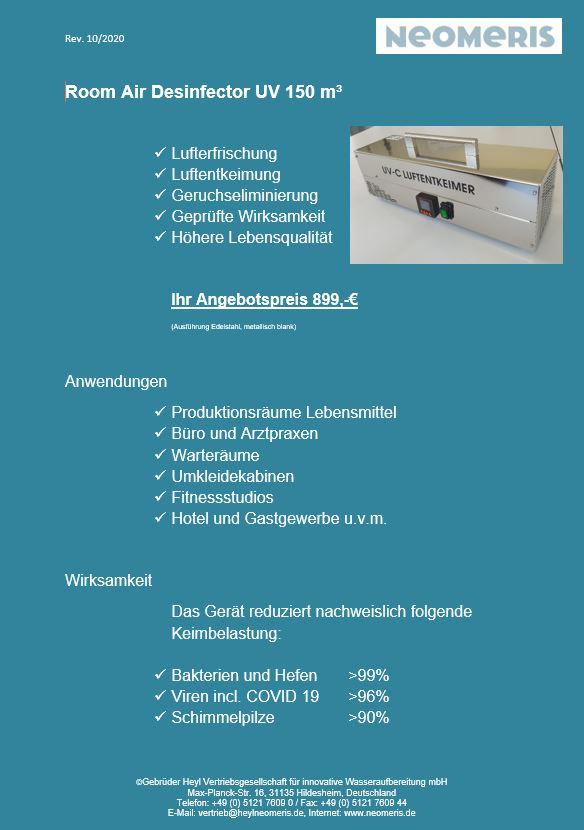 Room AIR Desinfector UV 150 m³